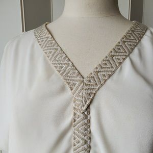 buttons Tops - Buttons | Cream Colored Cold Shoulder Top